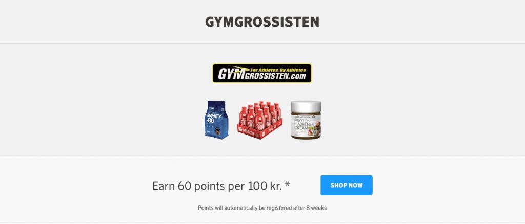 Man kan exempelvis tjäna poäng på Gymgrossisten