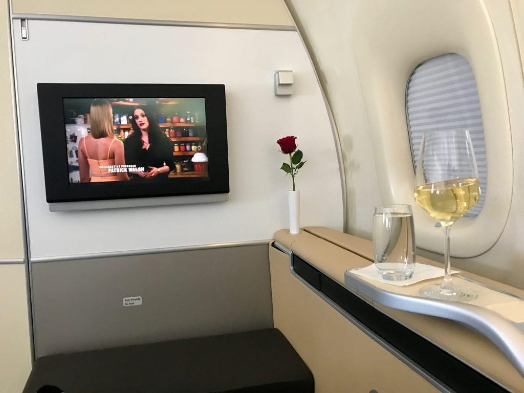 En väldigt god och lagom fruktig och syrlig Riesling ombord Lufthansa