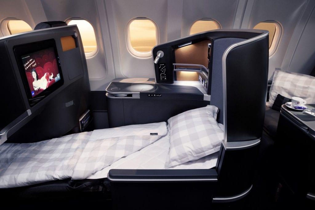 SAS business class med Hästens-produkter finns på alla interkontinentala flygningar.