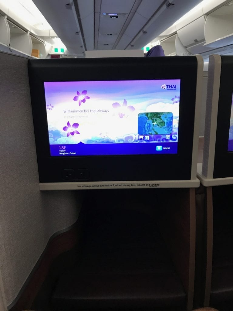 Thai Business Class A350, skärm