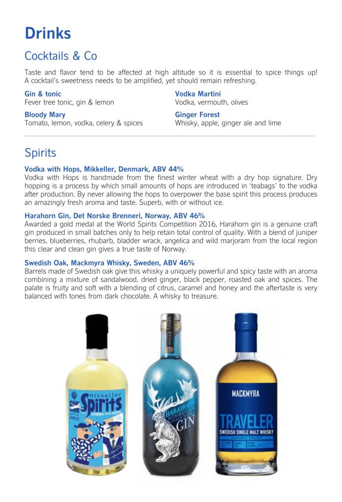 SAS Business Class, cocktails och sprit