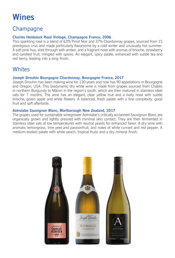 SAS Business Class, champagne och vita viner