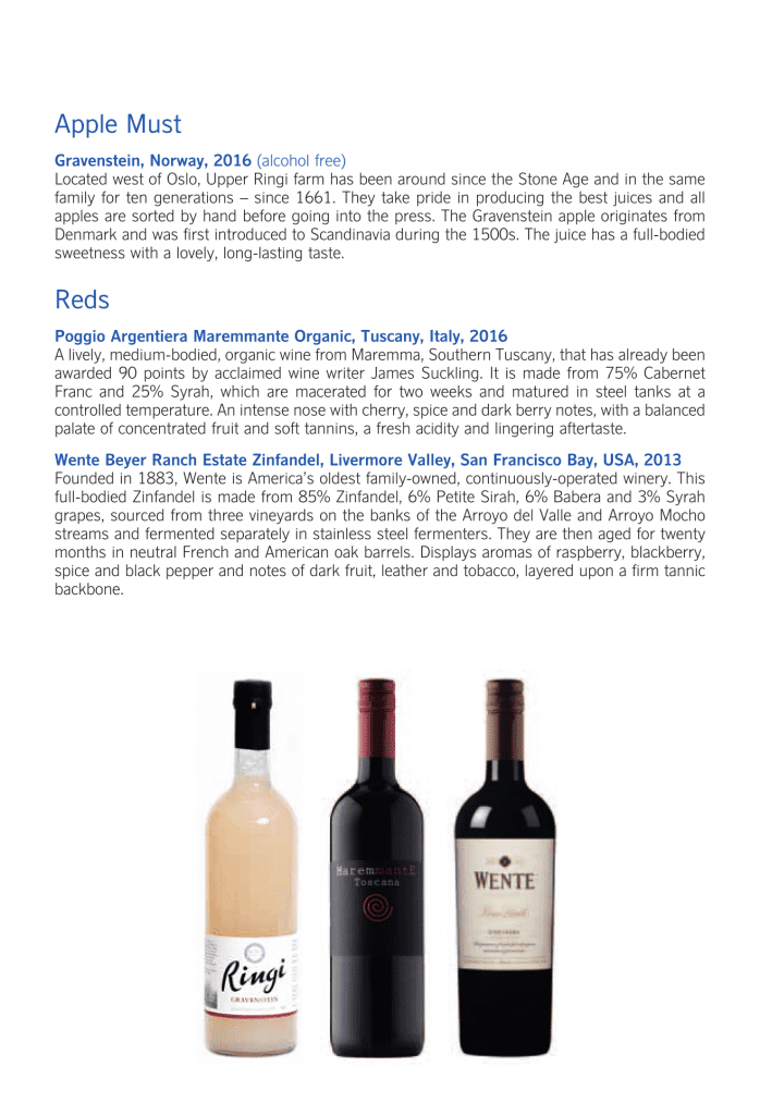 SAS Business Class, äppelmust och röda viner
