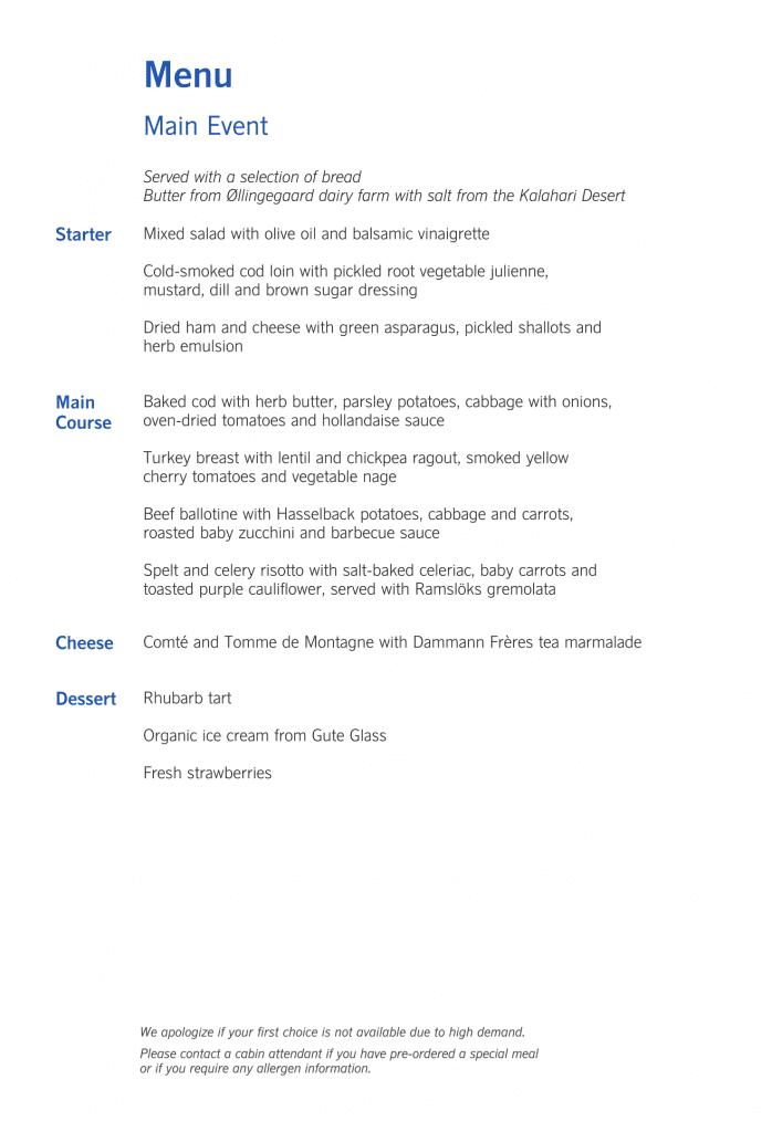 SAS Business Class, menyn för huvudserveringen