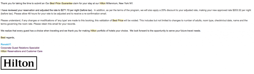 Hiltons prisgaranti blev en stor besparing