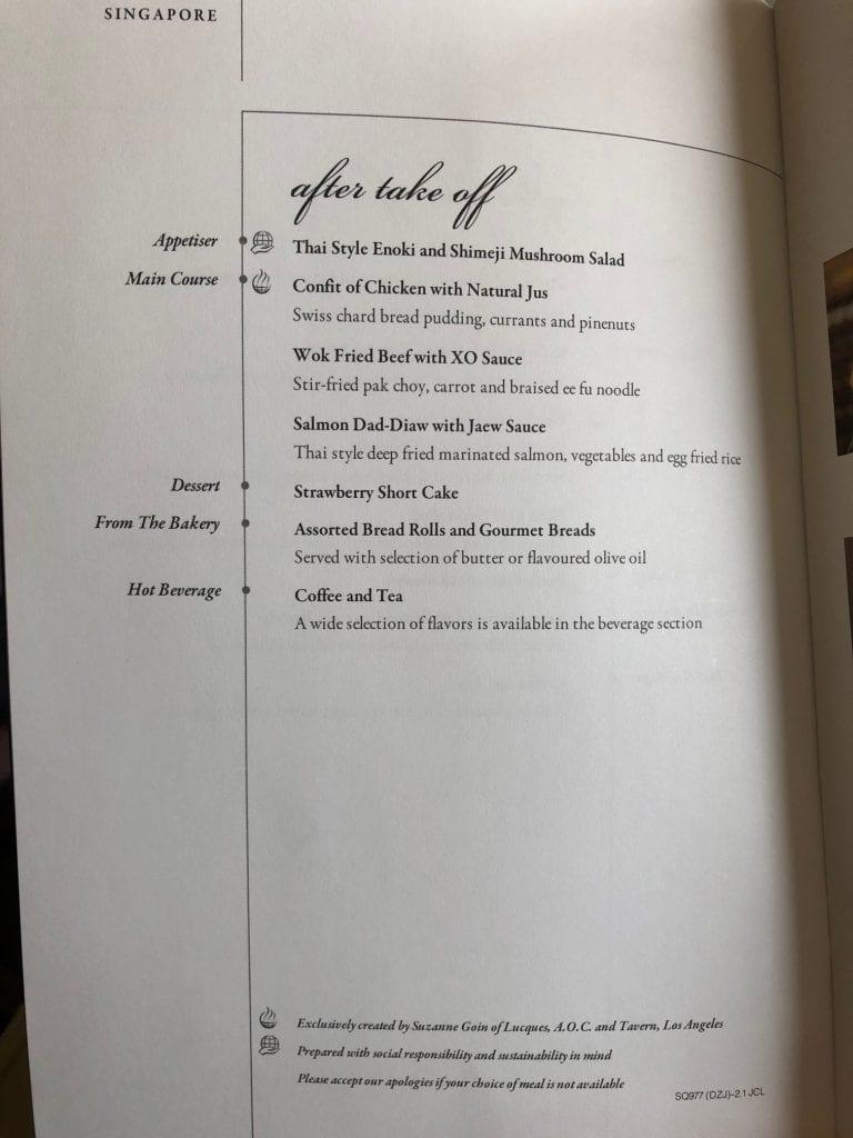 Singapore Airlines Business Class, menyn för huvudserveringen