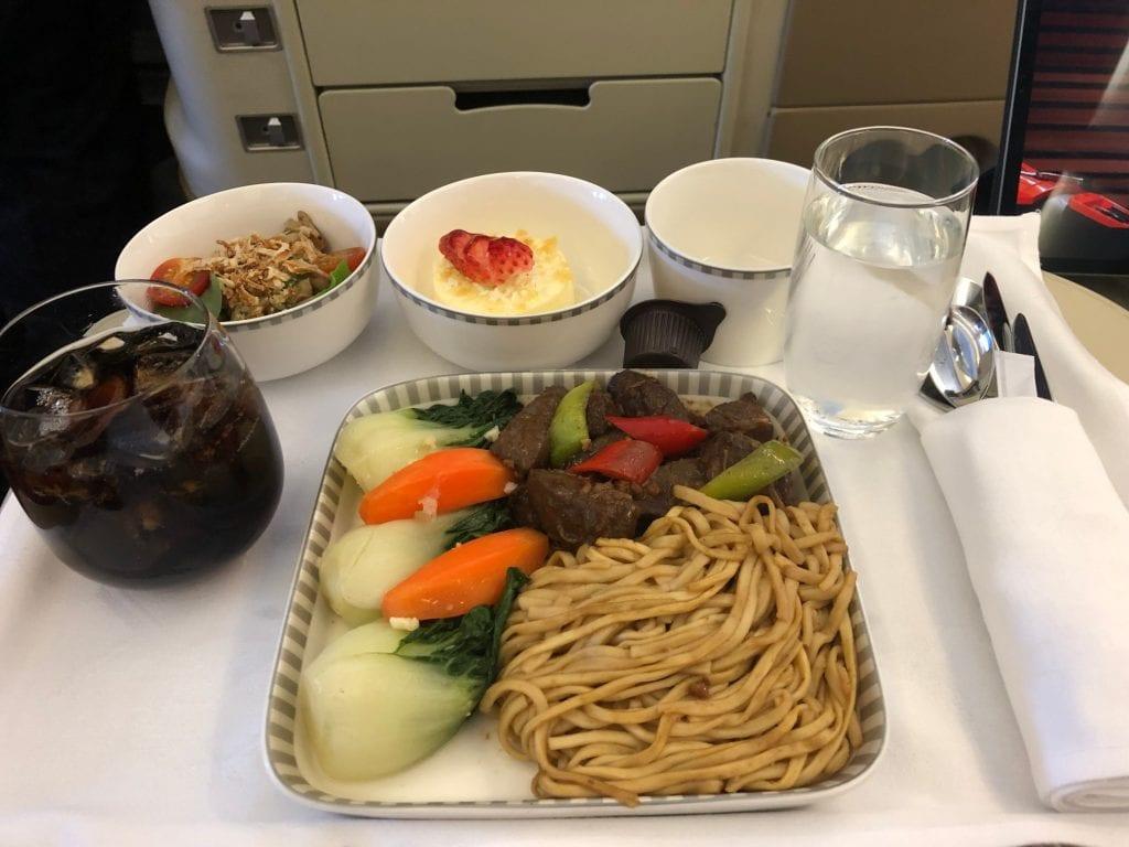 Singapore Airlines Business Class, måltidsservering